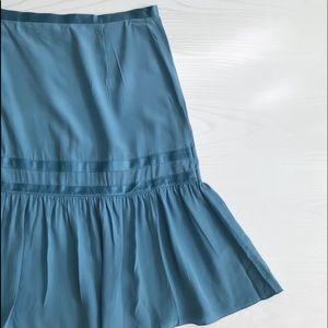 Marc Jacobs Silk Blue Prairie Skirt Size 6 EUC